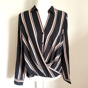 ALL IN FAVOR Navy Blue Striped Blouse
